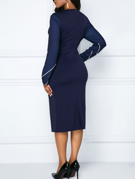 Incredible Blue Contrast Color Midi Dress Queen Size Superior Quality