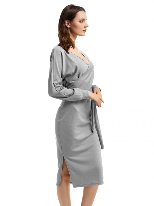 Comfortable Gray Hollow Out Solid Color Midi Dress Understated Design
