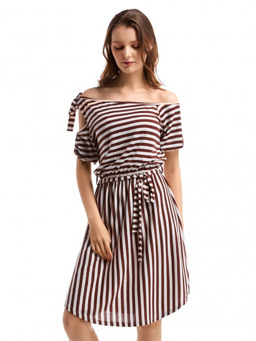 Zealous Stripe Print Midi Dress Off Shoulder Ladies Elegance