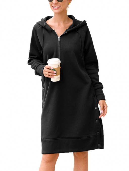 Special Black Midi Dress Solid Color Hooded Neck Superior Comfort