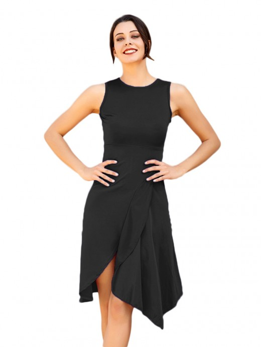 Dramatic Black Round Collar Irregular Hem Midi Dress Woman