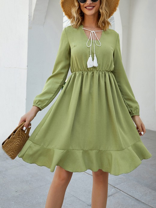 Stunning Grass-Green Square Neckline Ruffle Trim Midi Dress Weekend Time