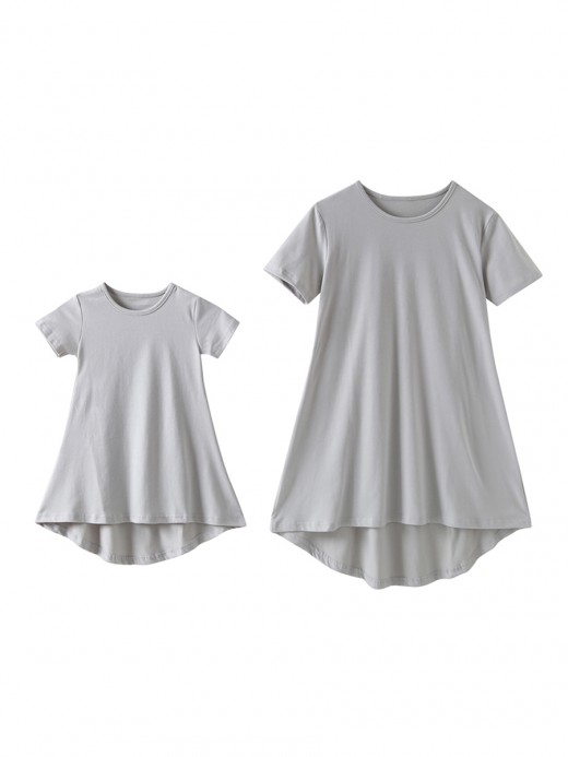Super Trendy Gray Round Collar Mom Kid Dress Plain Charm