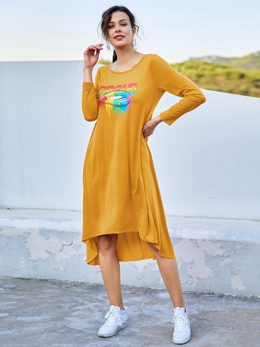 Casual Yellow Long Sleeves Midi Dress Large Size Delightful Garment