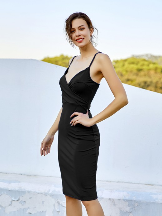Feminine Curve Black V Neck Slender Strap Dress Ruched Cheap