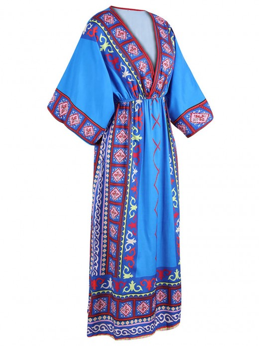 Romance Blue Bohemian Printed Midi Dress V Neck Glamor Women