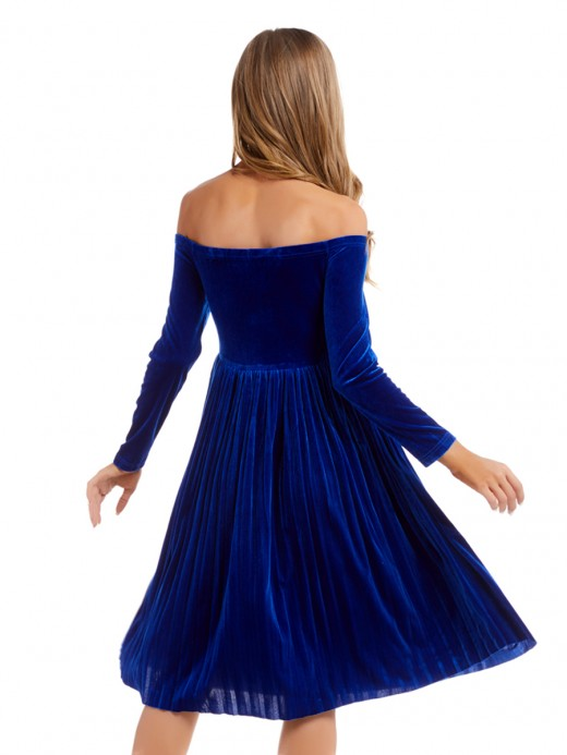Sophisticated Royal Blue Solid Color Midi Dress High Waist