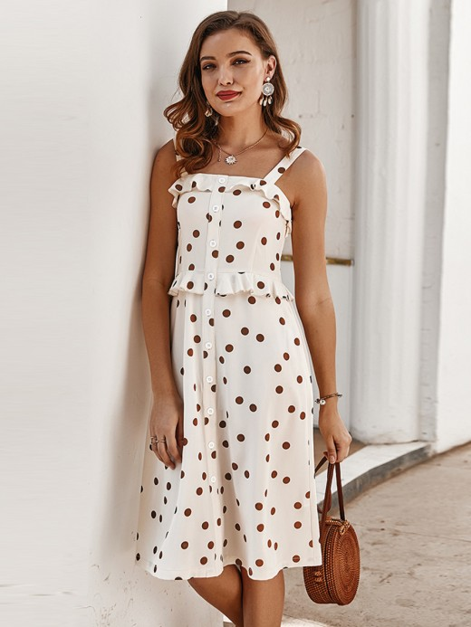 Dreamlike Apricot Button Backless Midi Dress Polka Dot Fashion