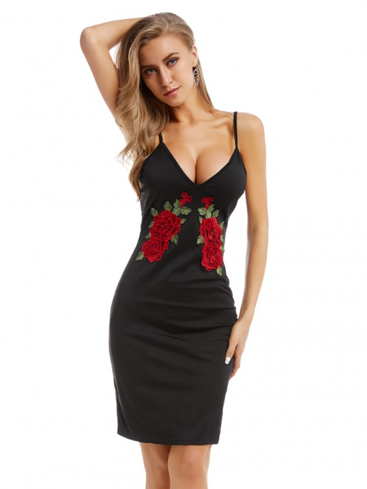 Brilliant Black Rose Pattern Sling Dress Deep-V Neck Leisure Wear