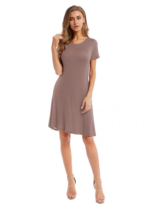 Pleasurable Light Brown Crew Neck Midi Dress Solid Color