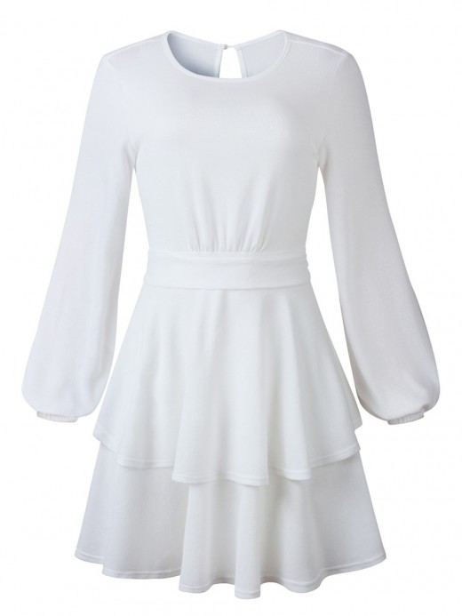 Pullover White Crew Neck Ruffle Hem Mini Dress Simplicity