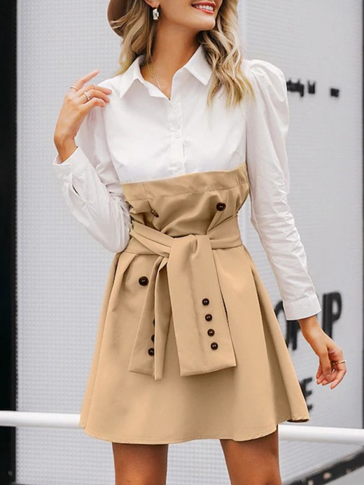 Extra Sexy Khaki Patchwork Tie Shirt Collar Mini Dress Relax Fit
