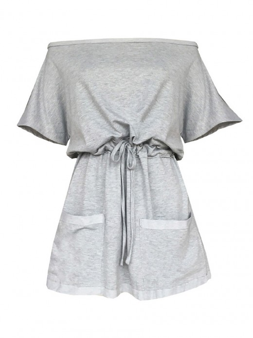 Adorable Gray Drwastring Short Sleeve Mini Dress Contouring Sensation