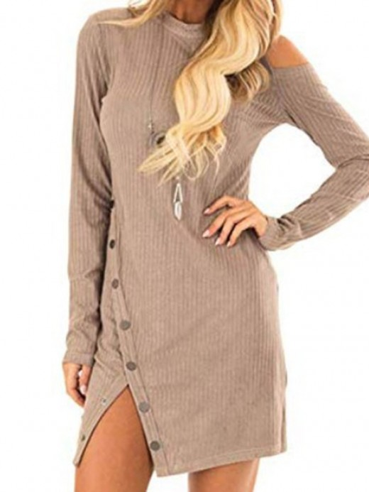 Elegance Apricot Round Collar Button Mini Dress Female