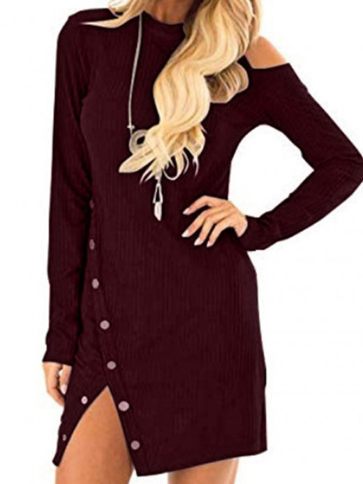 Charming Red Mini Dress Long Sleeve Side Slit For Beauty