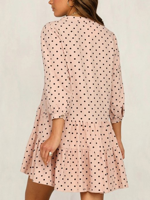 Body Hugging Pink Dot Ruffle Hem Mini Dress 3/4 Sleeve For Streetshots