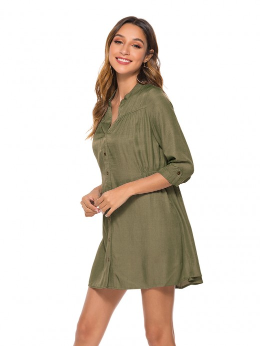 Sleek Army Green Front Button Mini Dress Split Neck For Ladies
