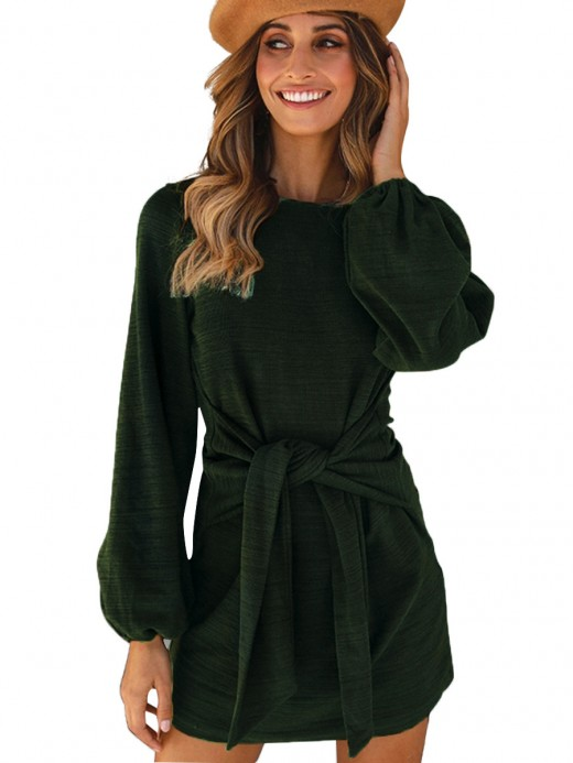 Frisky Green Knotted Mini Dress Long Sleeve For Couple