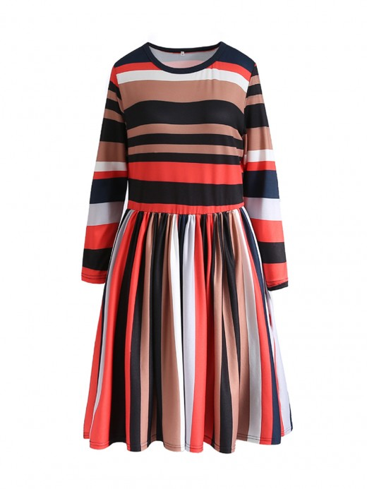 Captivating Stripe Patchwork Mini Dress Long Sleeve High Quality