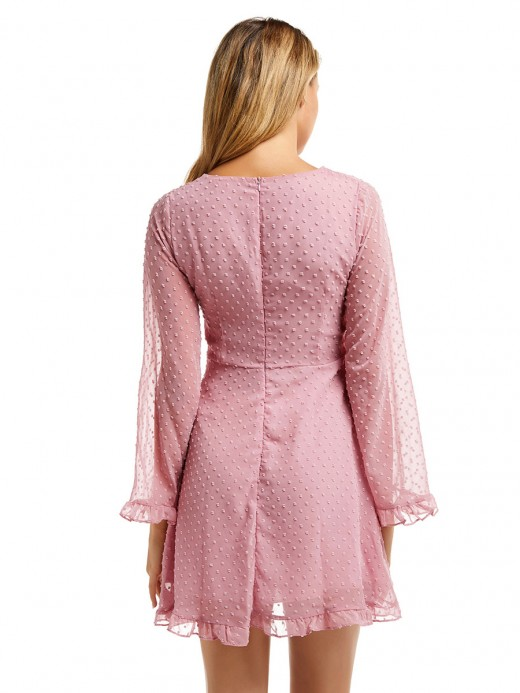 Eye-Appealing Pink Bell Sleeve Chiffon Dress V Neck Outdoor