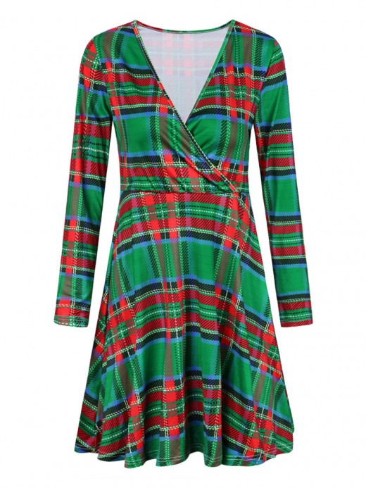 Romantic V Neck Plaid Pattern Mini Dress Classic Fashion