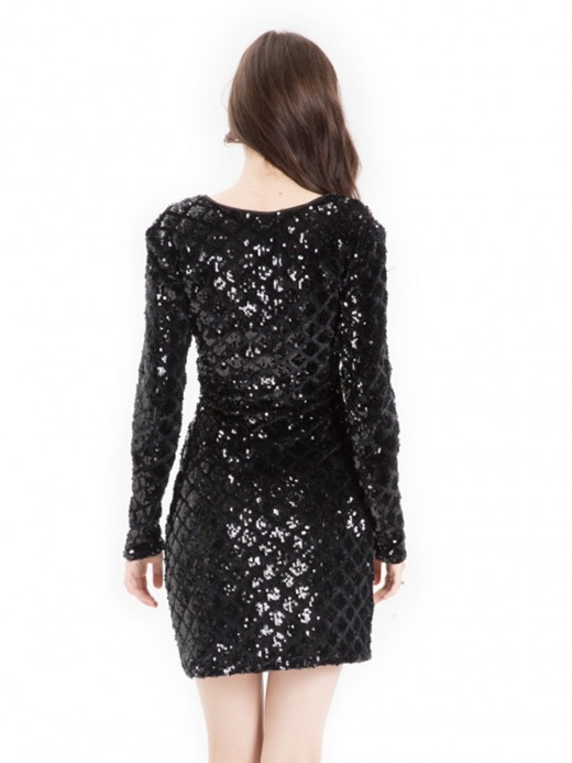 Glitter Black Full Sleeve Sequin V-Neck Mini Dress Hot Sale