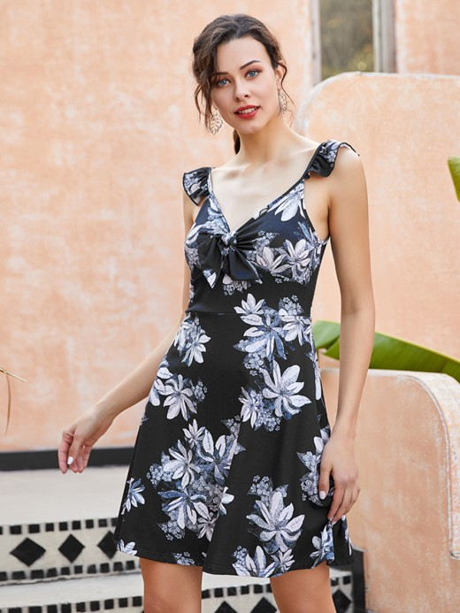 Stylish Black Ruffled Flower Printed Mini Dress Feminine