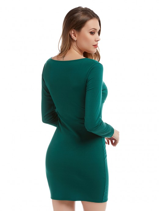 Staple Green Scoop Neck Mini Dress Long-Sleeved For Romans