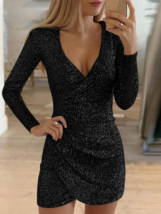 Breathtaking Black Full Sleeve Sequin Dress Cross Hem All Over Smooth