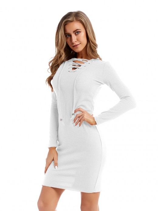 Affordable White Sweater Dress Mini Length Lace-Up Natural Fit