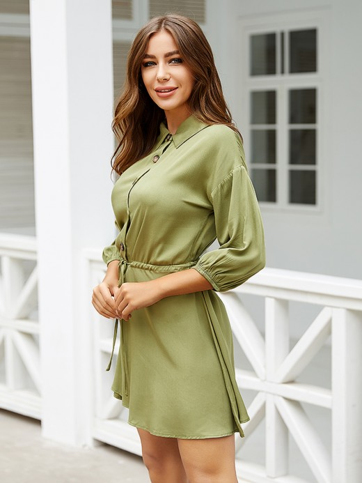 Romance Blackish Green Lantern Sleeves Buttons Mini Dress