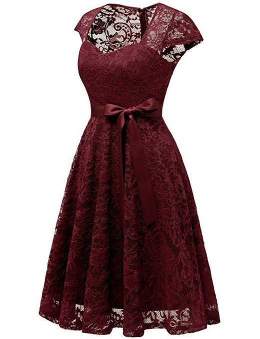 Leisure Wine Red Skater Dress Tie Waist Sweetheart Neck Fashion