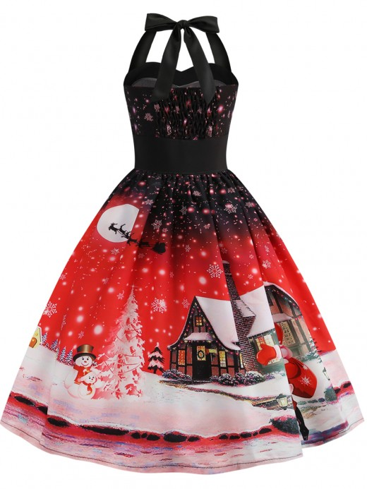 Dazzling Red Skater Dress Swing Hem Halter Neck Chic Trend