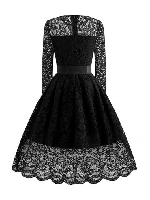Extra Sexy Black Skater Dress Bow-Knot Long Sleeve On-Trend Fashion