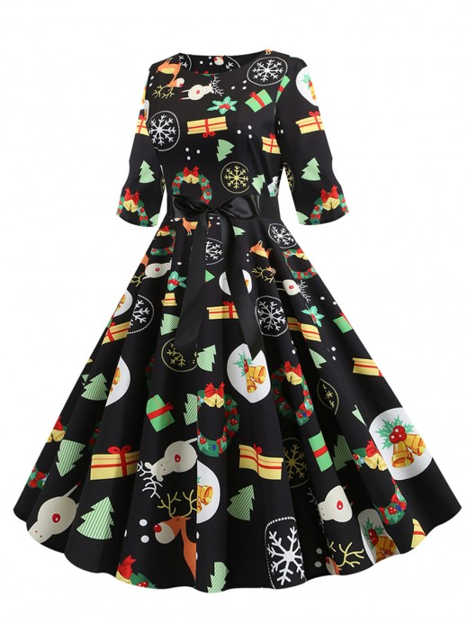 Romance Festive Pattern Half Sleeve Skater Dress Feminine Fashion