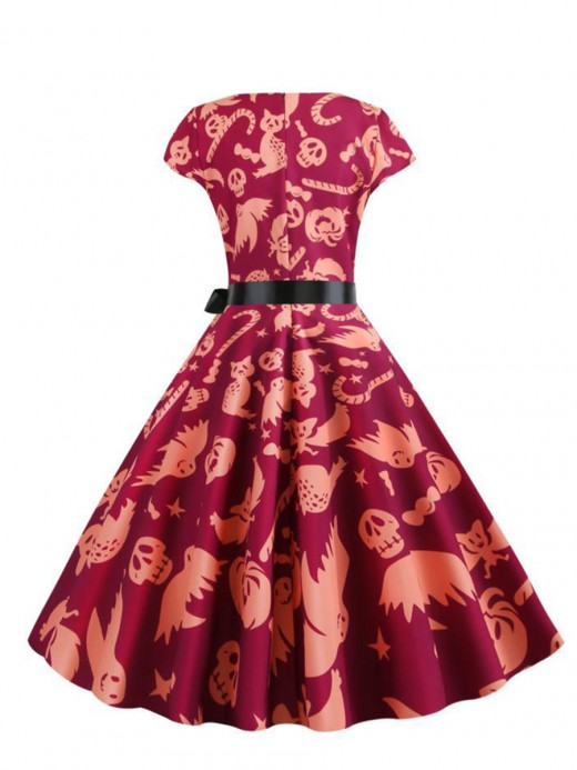 Contouring Sensation Cap-Sleeve Skater Dress Halloween Print Stunning