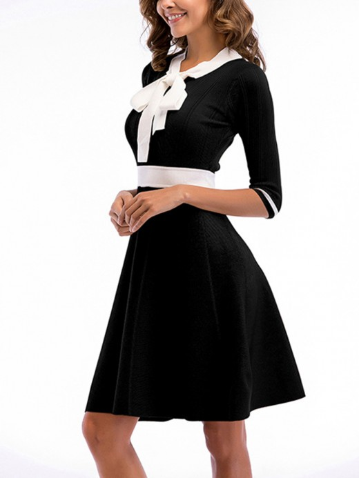 Premium Black Patchwork Skater Dress Midi Length Simplicity