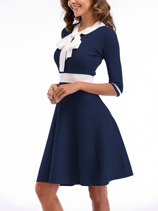Honey Royal Blue Bow Knot Half Sleeve Skater Dress Forward Women