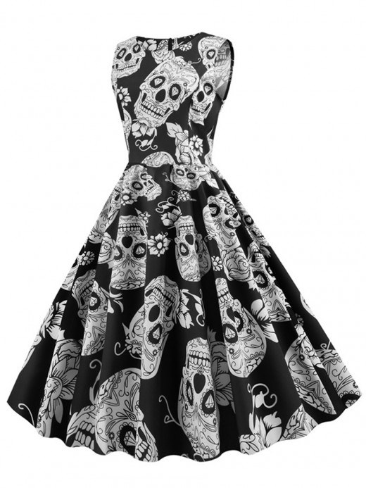 Stylish Sleeveless Skull Paint Skater Dress Unique Fashion