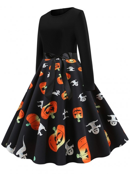 Marvelous Pumpkin Paint Zipper Skater Dress Tie Leisure Fashion