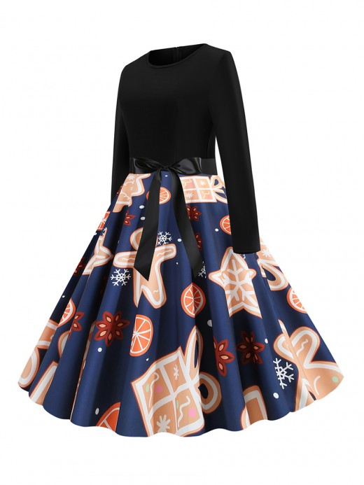 Eye Catcher  Crew Neck Full Sleeves Skater Dress Chic Trend