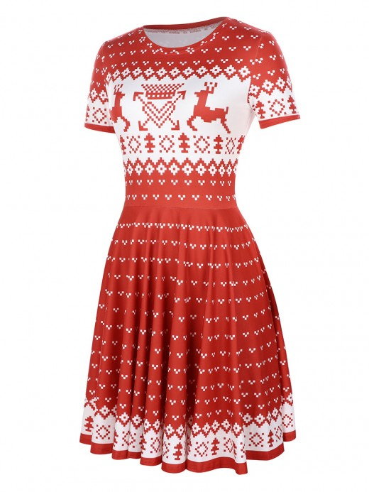 Functional Skater Dress Short Sleeve Elk Paint Ultimate Comfort