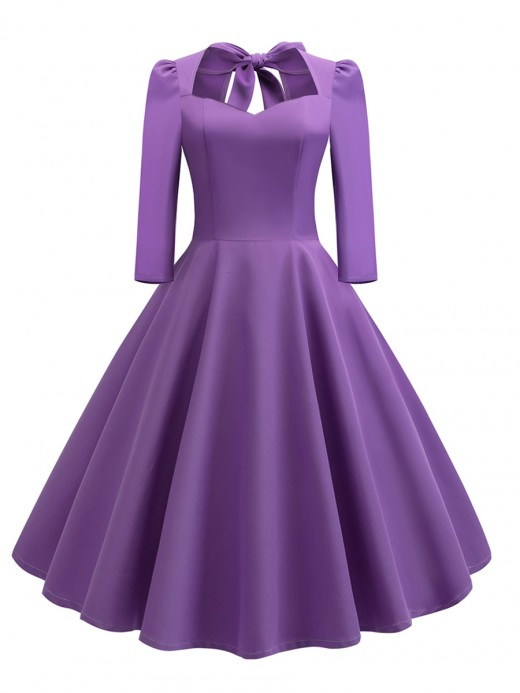 Particularly Purple Skater Dress Side Zipper Swing Hem Superior Quality