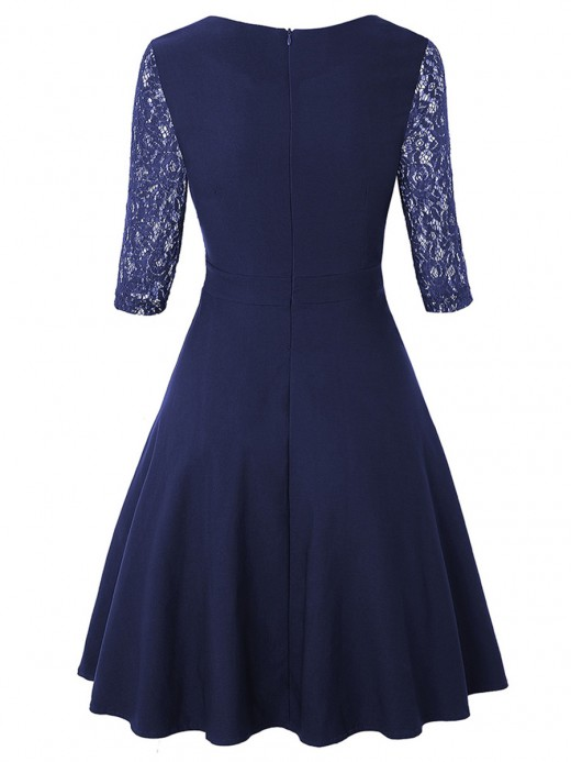 Ultimate Comfort Purplish Blue Swing Hem High Waist Lace Skater Dress