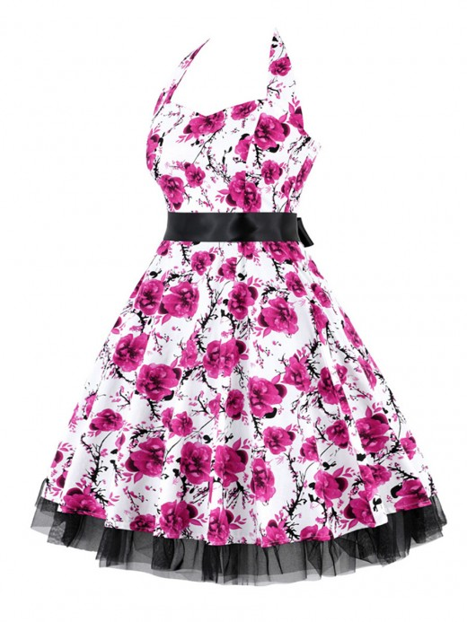Lightweight Plus Size Skater Dress Flower Printed For Women