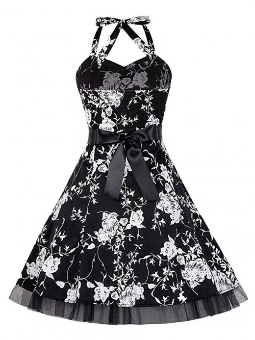 Slim Fit Waist Knotted Large Size Skater Dress Dress For Women