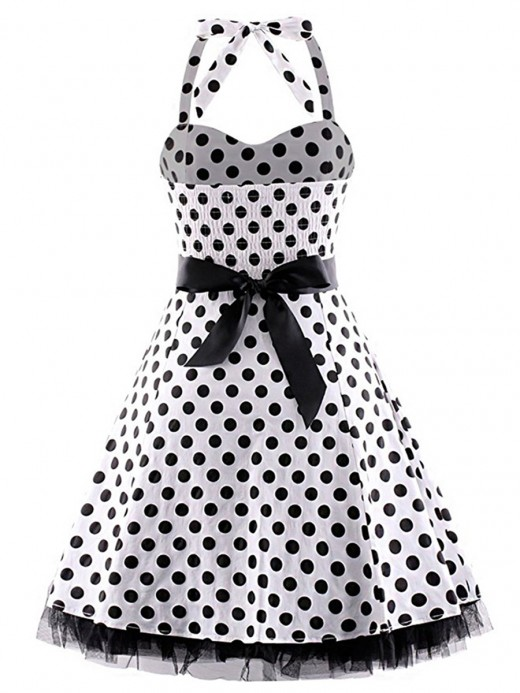 Fairy Sleeveless Dot Large Size Skater Dress Women's Essentials