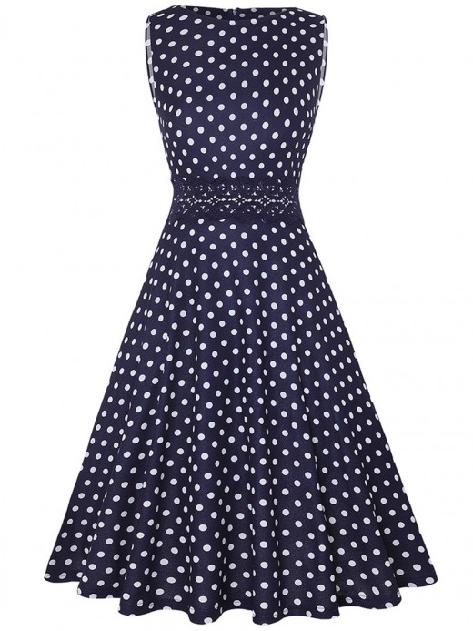 Flowing Lace Patchwork Dot Zipper Skater Dress For Sauntering