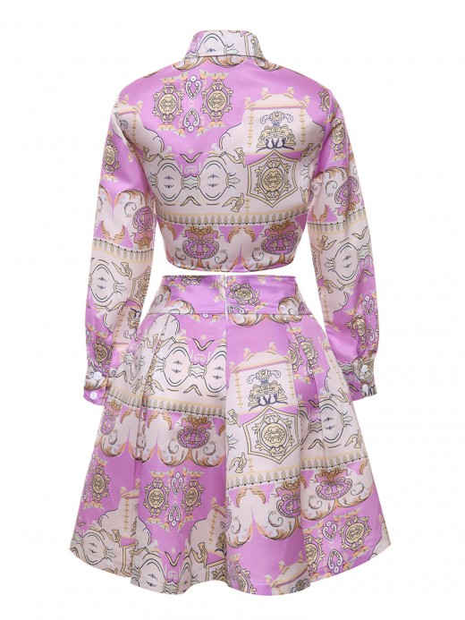 Well-Suited Purple Long Sleeve Top High Waist Skirt Suit Cheap Wholesale