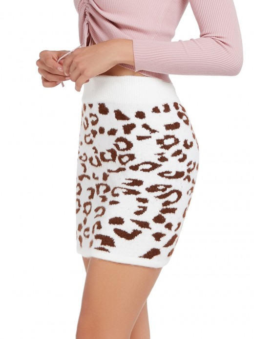 Angel Brownness Leopard Knitted Skirt Elastic Waist For Streetshots